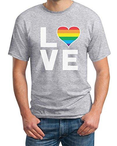 LGBT Shirt Homosexuell Gay Pride Regenbogen Herz in Love Rainbow Herren T-Shirt Large Grau