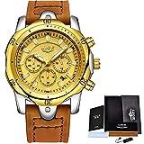 Watch-LUTEM Herren Armbanduhren Sport Wasserdichte Luxusuhren für Männer Business Casual Uhr mit Lederband, Leuchtzeiger, Datums- / Sekunden- / Minuten- / 24-Stunden-Anzeige