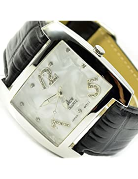 XXL Damen Armbanduhr Schwarz Silber Strasssteine große Damenuhr Al 583