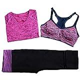 ipretty Mujer Sport Bra Push Up Sport BH sujeción fuerte para yoga Running Fitness Outdoor deportivo con corta Blusa y 3/4pantalones, Mujer, color I, tamaño S