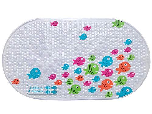 tiddlers & nippers   Kinder Rutschfeste Badematte   Hohe Qualität   Leicht zu reinigen   Cleverer Anti-Rutsch-Saugnapf   Duschmatten für Baby, Kinder und Kleinkind (Freundliche Fisch)