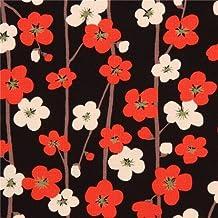 Tela dobby negra con textura linda flor cerezo crema claro y rojo de Japón