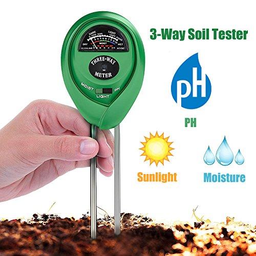 Boden-Tester 3-in-1 Feuchtigkeit, Licht, PH-Wert, Multifunktionales Bodensäure-Test-Kit, beste Bodenprüfung für Haus und Garten, Rasen & Garten-Werkzeuge