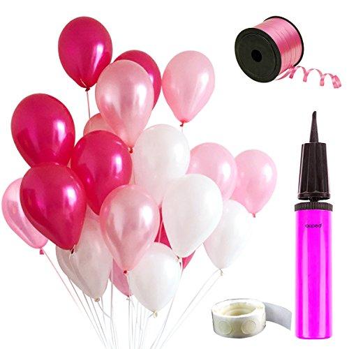 Auped Rosa Ballons Set , Enthaltet 100 Luftballons ( Perlmutt + Hellrosa + Dunkelrosa ) , 1 Ballonpump , 100 Stück Kleber , 250 Meter Hellrosa Bänder
