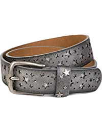 styleBREAKER Gürtel mit Sterne Cutout und glitzernden kleinen Pailletten, Glitzergürtel, Damen 03010072