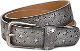 styleBREAKER Gürtel mit Sterne Cutout und glitzernden kleinen Pailletten, Glitzergürtel, Damen 03010072, Farbe:Antik-Grau;Größe:95cm