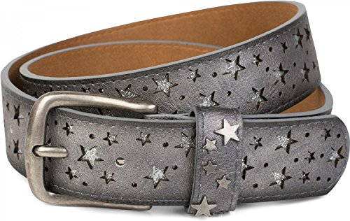 styleBREAKER Gürtel mit Sterne Cutout und glitzernden kleinen Pailletten, Glitzergürtel, Damen 03010072, Farbe:Antik-Grau;Größe:90cm (Jeans Big Premium Star)