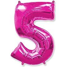 (OFERTA ANTES 5,95€) Globo número 5 para fiestas de cumpleaños, XXL Medida 100 cm, inflándolo con HELIO flotará durante 5/6 días.(FUCSIA)