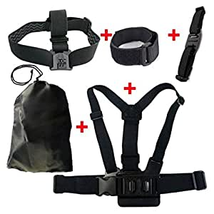 JMT Shoulder & Head & Helmet Strap Belt Mount + Wifi Velcro Wrist Band W/ Storage Bag for GoPro Hero 3