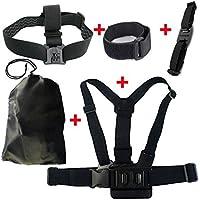 JMT Shoulder & Head & Helmet Strap Belt Mount + Wifi Velcro Wrist Band W/ Storage Bag for GoPro Hero 3