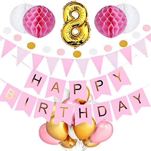 SeHan Geburtstagsdeko für Mädchen und Jungen ab 1 bis 9 Jahre, Rosa (geburtstagsdeko 8 Jahre) -