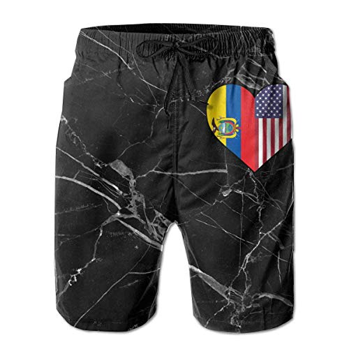 ZKHTO Ecuadorian Flag Half America Flag Half Heart Shaped Men's Board/Beach Shorts Lightweight Bathing Suit,Shorts Size L Shaped Board