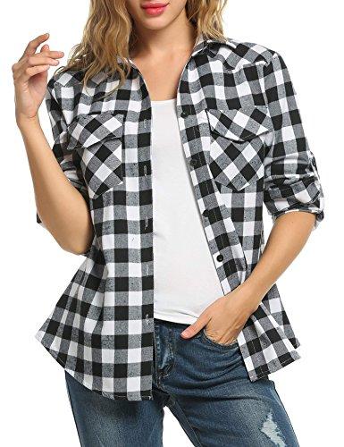 Zeagoo camicia scozzese donna a quadri manica lunga casual elegante cotone sexy ufficio maliga per