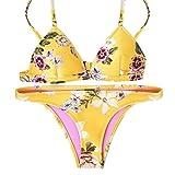 uBabamama sexy Bikini mit Floralem Muster, gepolsterter Push-up-BH, Tanga, Badebekleidung, im Set