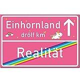 Einhorn Schild / Rosa Ortsschild (Realität -> Einhornland) Türschild / Made in Germany von STICKERWALD ® (Einhornland Schild ohne Löcher)