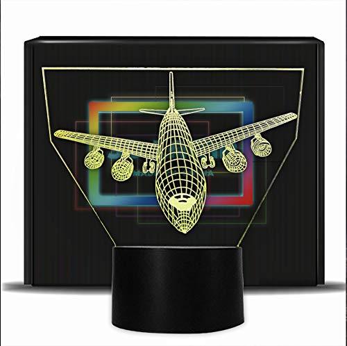 PONLCY Nouveauté 3D Illusion Lampes LED Avion Night Lights USB 7 Couleurs Capteur Lampe de Bureau pour Enfants Cadeaux d'anniversaire De Noël Décoration de La Maison (Spacemen)