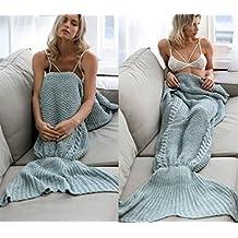 Meerjungfrau Decke, Noza Tec Handgemachte häkeln meerjungfrau flosse decke für Erwachsene, Mermaid Blanket alle Jahreszeiten Schlafsack