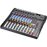 ammoon® Mezcla de Audio Mezclador Consola CT80S-USB 8 Canales Línea Mic Digital con 48 V de Alimentación Phantom para la Grabación de DJ Etapa Karaoke Apreciación Musical