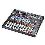 ammoon Mezcla de Audio Mezclador Consola CT80S-USB 8 Canales Línea Mic Digital con 48 V de Alimentación Phantom para la Grabación de DJ Etapa Karaoke Apreciación Musical