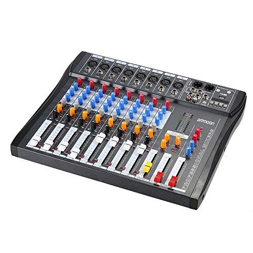 ammoon Console Mixer CT80S-USB 8 Linea Canale Audio Digitale Mic Mixing con 48V Phantom Power per la Registrazione DJ Fase Karaoke Apprezzamento