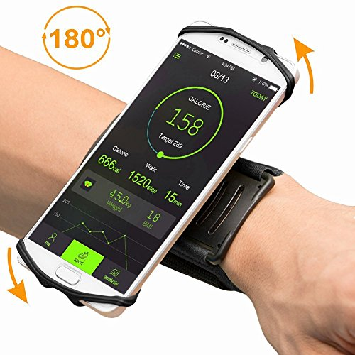 Sport Handgelenk Armband, FisherMo Drehbares Design 180°Rotierend Sportarmband Atmungsaktiv Handy Halter Ideal für Laufen Wandern Jogging Kompatibel mit iPhone X / 8 Plus Samsung Galaxy Note8 (Samsung Note 2 Sport Armband)