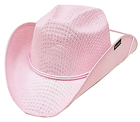 Modestone Girl's Straw Chapeaux Cowboy Chinstring Pink