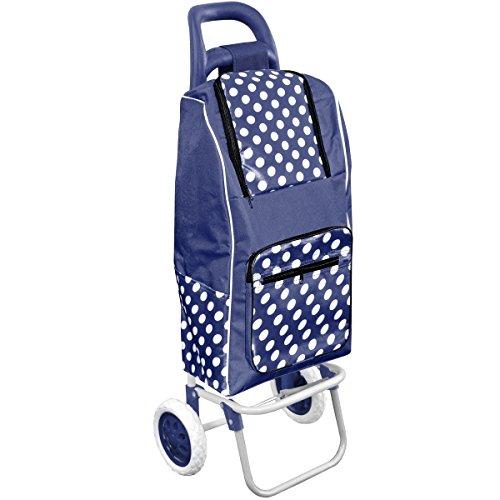 Promobo Chariot De Courses Shopping A Roulettes Isotherme A Pois Bleu 30L