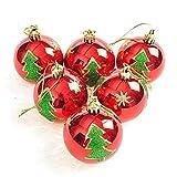 Bescita Weihnachtskugeln Ornamente, Weihnachtsbaum Bälle Dekorationen für Weihnachten Hochzeitsfest Dekoration Gold Ball Ornamente Shatterproof Weihnachten (6 / Pack, Gemalte Kugel), Mehrfarbig (Rot)