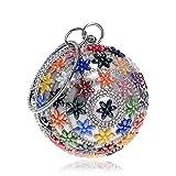 YYDDT Frau Unterarmtasche Strass Kristall Kugelförmig Farbe Blume Kartenhalter Schulter Crossbody Prom Geldbörse Abend Handtasche,color,4.9X4.9X9.8INCH
