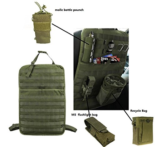Tactical MOLLE Fahrzeug Vordersitz Lagerung mit Flasche/Taschenlampe/Recycling-Beutel Autositz zurück Organizer Sitz Cover Protector Universal Fit Multicolor (Schwarz/Beige/Grün) -