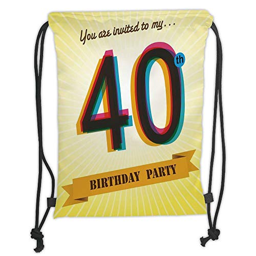 Icndpshorts Drawstring Backpacks Bags,40th Birthday Decorations,Vintage Graphic Banner Party Invitation Theme Optical Striped,Multicolor Soft Satin,5 Liter Capacity,Adjustable String Closure,T