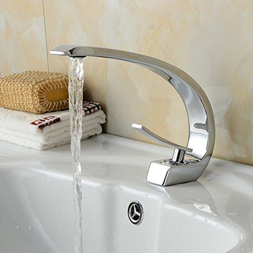 BONADE® Wasserfall Einhebel-Waschtischarmaturen Mischbatterie Wasserhahn Bad Armatur für Badezimmer Waschbecken, 59 Kupfer, Chrom