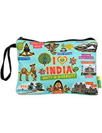 Eco Corner - I Love India - Pouch - Big - 100% Cotton / Washable / Printed On Both Sides / Zip Closure With Carry...