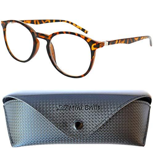 Nerd Blaulichtfilter Lesebrille | Anti Blaulicht Brille mit großen runden transparenten Gläsern | GRATIS Etui | Kunststoff Rahmen (Horn braun) | Lesehilfe für Damen und Herren | +2.5 Dioptrien