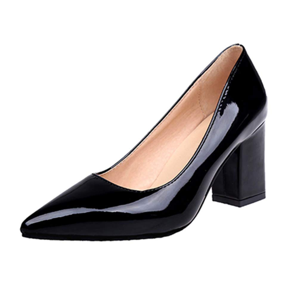 JRenok Women Pumps Chunky Heel Shoes Autumn Pointed Toe Patent Leather High  Heels Party Wedding Thick Heel Footwear