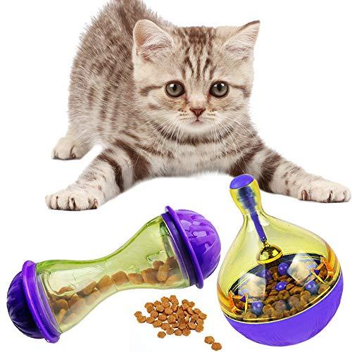 Yangyme 2 PCS Snack Spielzeug Für Katzen Futterspender Interaktives Spielzeug Ausbildung Für Katzen Leckereienball Leckerli-Ball