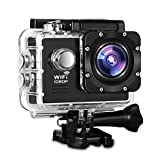Action Camera, Fivanus WIFI Action Cam Novatek NT96655 Full HD 1080P 14MP 170° Grandangolare 2' Schermo LCD Impermeabile a 30m Sports Camera Fotocamera Videocamera Digitale Cam con 2 Batterie e Kit Acessory Inclusi immagine