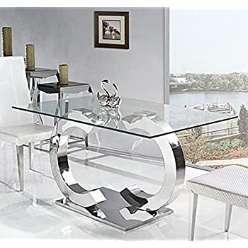 MilanoOak Effect Glass Dining Table Set  Chairs Seater Amazon