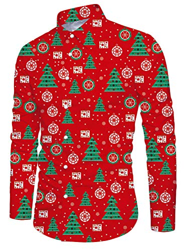 Funnycokid Männer Drucken Ugly Christmas Shirt Retro Pattern -