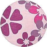 Luxor Living 1100400 Kinder / Webteppich Blumen Konturen Muster Teppich Brest Kinderzimmer, 120 cm rund, hellrosa / lila