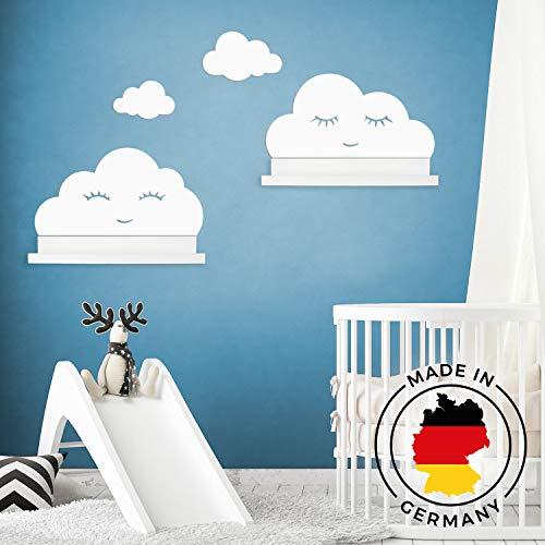 Wandtattoo Wolken in weiß mit Augen für IKEA Regalbrett Ribba/Mosslanda 55 cm Bilderleiste für Babyzimmer Kinderzimmer - Aufkleber für Wand Tapete