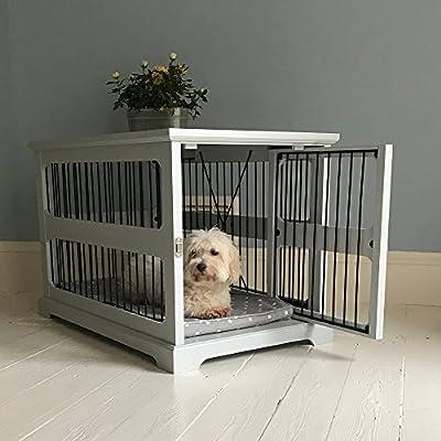 Jaula de madera gris para perro con puerta deslizante Aside