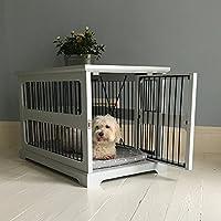 Graue Hundebox mit seitlicher Schiebetür aus Holz