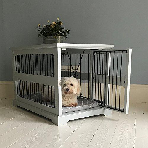 Graue Hundebox mit seitlicher Schiebetür aus Holz (Hundebox Aus Holz)
