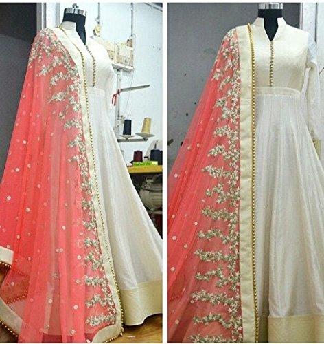 Shopaholic Women\'s Georgette Lehanga Choli (GV03 white moti _Off White_ Free Size)