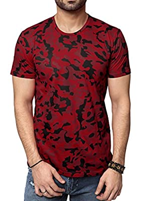 Zeyo SOFT-TOUCH Cotton Mens Round neck Half Sleeve Tshirt Red Camoflage Regular Fit Stylish T-shirt Army Print