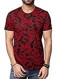 Zeyo Men's Cotton T-Shirt (ZMT-3030-M, Red, Medium-40)