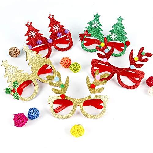 Ogquaton Navidad Gafas Creativas niños Adornos de Navidad apoyos de la Fiesta de Navidad Vestir asta Gafas Partido Accesorios Adornos Regalo