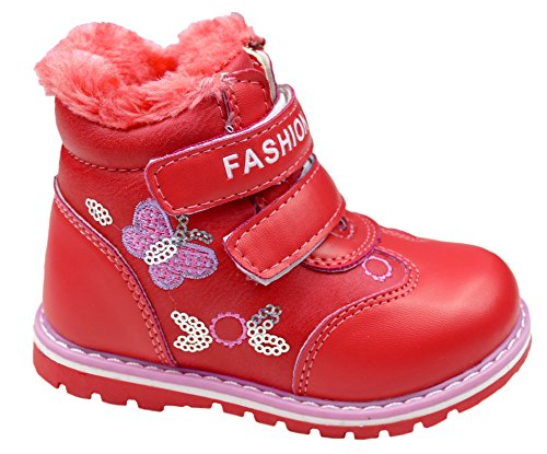 Gibra Kids Winter Boots, Warm Lined, with Velcro, Red, Size 22, 32