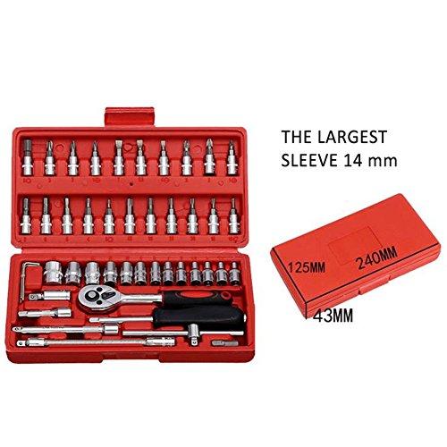 Alftek 46 pièces de voiture Outil de réparation Ensemble de jeu de douilles 1/10,2 cm de voiture réparation à cliquet Clé dynamométrique Combo Kit d'outils